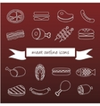 meat outline icons vector image