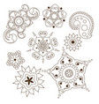 mehndi flower indian pattern isolated on white vector image vector image