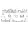 paris skyline line art 8 vector image vector image