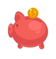 Pig piggy bank with coins in vector image