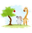 ram and giraffe vector image