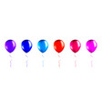 set blue red orange pink and purple balloons vector image vector image