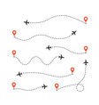 set different airplane routes plane route vector image