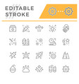 set line outline icons firework vector image