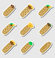 set of color tortilla food stickers set eps10 vector image vector image