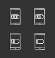 smartphone battery charging chalk icons set vector image vector image