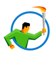 Summer sport games athlete torch bearer in a ring vector image