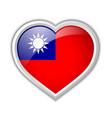 taiwanese flag heart shaped badge isolated vector image