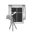 telescope and open window sketch vector image vector image