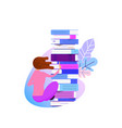 the concept of online library tiny characters and vector image vector image