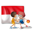 The flag of Indonesia at the back of the vector image vector image
