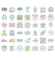 transport and logistics simple thin icon set vector image vector image