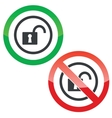 Unlocked permission signs vector image vector image