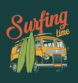 vintage colorful surfing label vector image