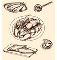 vintage hand drown seafood vector image vector image