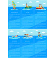 windsurfing and jet ski posters vector image vector image