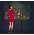 Woman looking at night town romantic view vector image