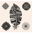 Vintage tribal feather vector image