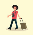 a man with luggage going to the airport vector image