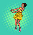 african woman outstretched hands vector image