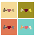 Assembly flat icons cat dog heart