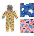 Australia day kids overall Textures set Kangaroo vector image