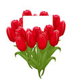 beautiful bouquet of tulips with a note inside vector image
