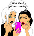 beautiful girls and cell phone vector image