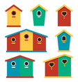 birdhouses set of color icons in flat style vector image