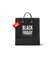 black friday concept black paper bag with tag vector image vector image