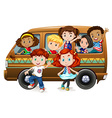 Boys and girls riding on van vector image vector image