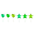 bug set green star and heart shaped foil vector image