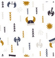 childish seamless pattern with vikings elements vector image