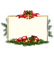 christmas card template with red balls vector image vector image