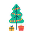 christmas pine tree and gifts vector image vector image
