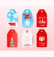 christmas sale tag set with editable holiday vector image