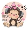 Cute cartoon Monkey with headphones vector image