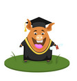 cute pig student back to school vector image