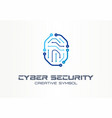 cyber security creative symbol concept digital vector image