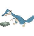 Dark blue mongoose and money cartoon