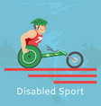 disabled athlete sport riding in wheelchair vector image