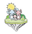 doodle family rabbit animal in the float island vector image vector image