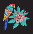 embroidery pattern with parrot and flower vector image vector image