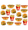 fast food pattern with burger hot dog and french vector image vector image