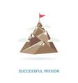 flag on mountain peak vector image vector image