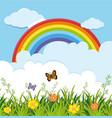 garden scene with butterflies and rainbow vector image