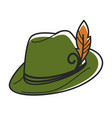 green hat with small yellow feather isolated vector image vector image