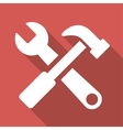 Hammer And Wrench Long Shadow Square Icon vector image