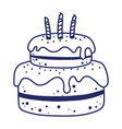 happy birthday cake with candles dessert pastry vector image vector image