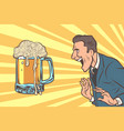 happy man and beer mug vector image vector image